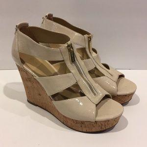 Michael Kors tan wedge zip up sandals
